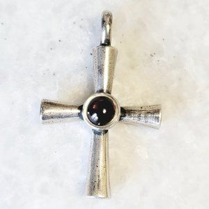 James Avery Rare Garnet Cross Sterling Pendant